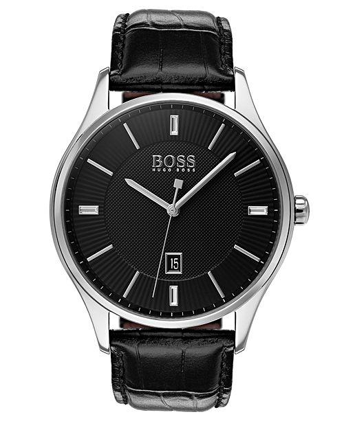 BOSS Hugo Boss Men's Governor Black Leather Strap Watch 44mm
