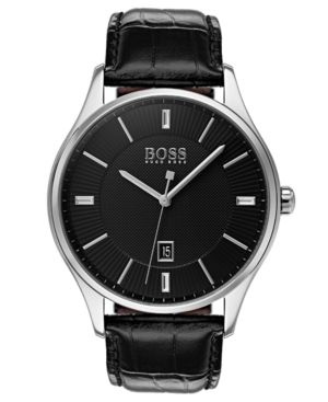 MEN'S GOVERNOR BLACK LEATHER STRAP WATCH 44MM