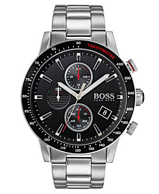 16fe086115ce BOSS · BOSS Hugo Boss Men s Chronograph Rafale Stainless Steel Bracelet Watch  44mm