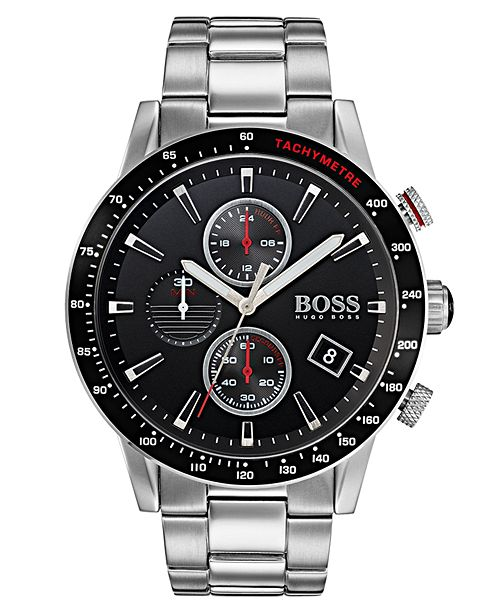 BOSS Hugo Boss Men's Chronograph Rafale Stainless Steel Bracelet Watch 44mm