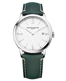 Baume & Mercier Men's Swiss Classima Green Leather Strap Watch 40mm