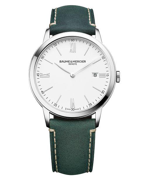 Baume & Mercier Men's Swiss Classima Green Leather Strap Watch 40mm