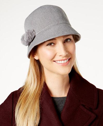August Hats Faux Fur Pom-Pom Cloche