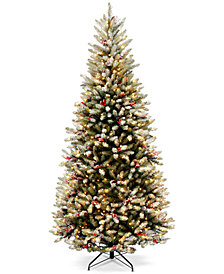 National Tree Company 7.5' Dunhill Fir Slim Hinged Tree with Snow, Red Berries, Cones & 600 Clear Lights