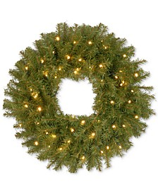 "24"" Norwood Fir Wreath With 50 Battery-Operated LED Lights & Timer"