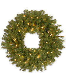 """National Tree Company 24"""" Norwood Fir Wreath With 50 Battery-Operated LED Lights & Timer"""