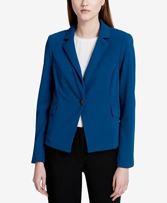 Calvin Klein Petite Single-Button Crepe Blazer