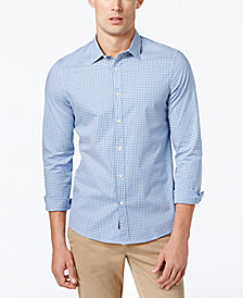 Michael Kors Men's Slim-Fit Trim Stretch Gingham Shirt