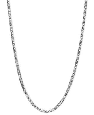 "14k White Gold Necklace, 16"" Diamond Cut Wheat Chain (9/10mm)"