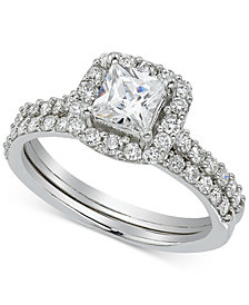 Diamond Princess Cut Halo Bridal (1-1/4 ct. t.w.) in 14k White Gold