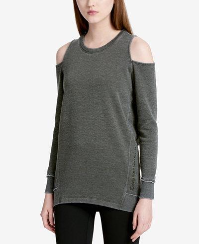 Calvin Klein Performance Distressed Cold-Shoulder Sweatshirt