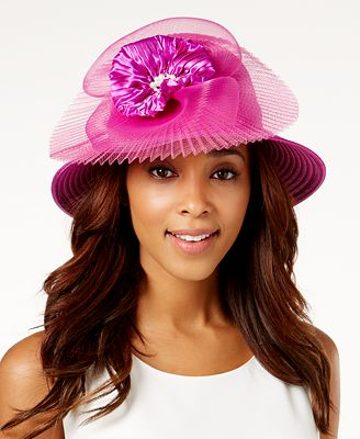 August Hats Satin-Stripe Embellished Dressy Cloche