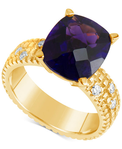 Amethyst (5-1/2 ct. t.w.) & Diamond (1/6 ct. t.w.) Ring in 14k Gold
