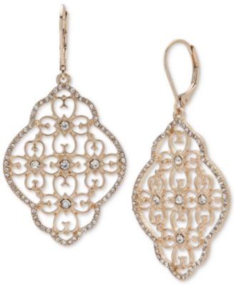 lonna & lilly Gold-Tone Crystal Filigree Chandelier Earrings
