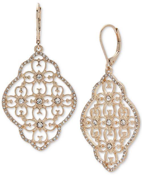 Gold-Tone Crystal Filigree Chandelier Earrings