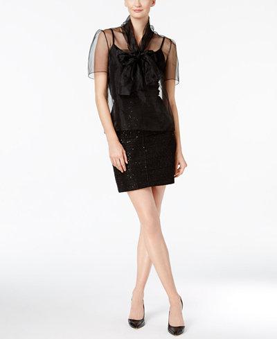 Anne Klein Sheer Tie-Neck Blouse & Sequined Tweed Mini Skirt