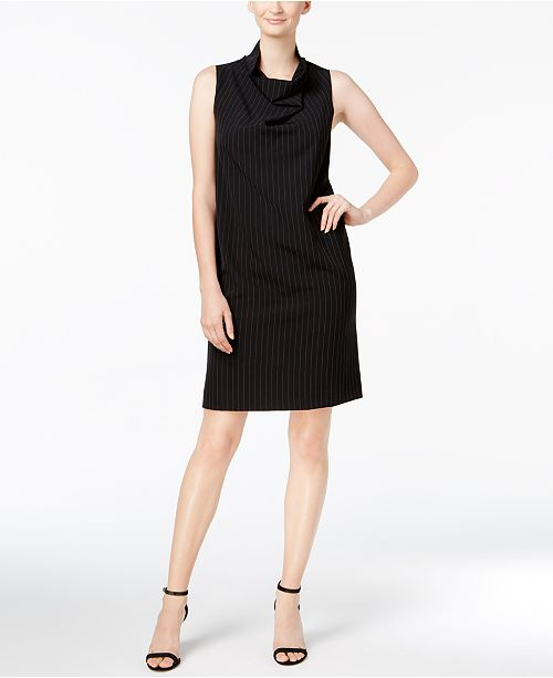 Cowl-Neck Pinstripe Sheath Dress