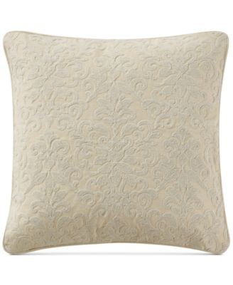 """Charlize Embroidered Gold 18"""" Square Decorative Pillow"""