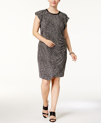 michael michael kors plus size animal-print draped dress - dresses