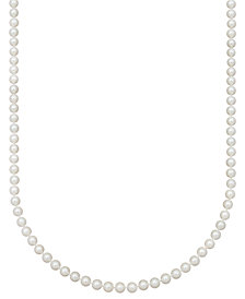 "Belle de Mer Pearl Necklace, 18"" 14k Gold AA Akoya Cultured Pearl Strand (6-1/2-7mm)"