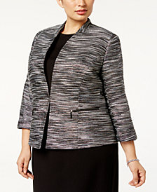 Kasper Plus Size Metallic Tweed Blazer