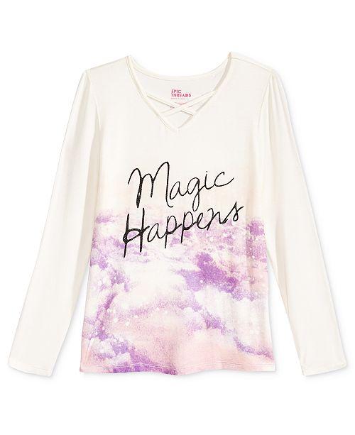Epic Threads Magic Happens V-Neck T-Shirt, Big Girls, Created for Macy's