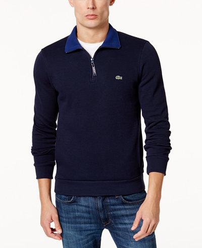 Lacoste Men's Ribbed Quarter-Zip Cotton Sweatshirt - Sweaters ...