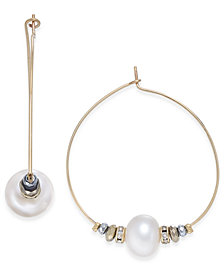 Paul & Pitü Naturally Two-Tone Pavé & Imitation Pearl Beaded Hoop Earrings