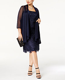 R & M Richards Plus Size Lace Dress and Jacket