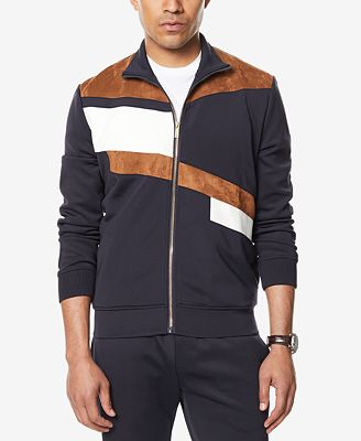 Sean John Men's Faux Suede Pieced Track Jacket, Created for Macy's