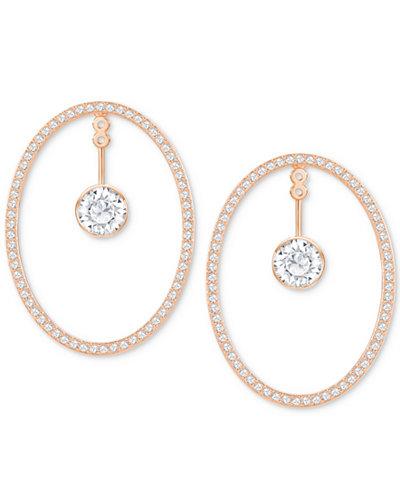 Swarovski Rose Gold-Tone Crystal & Pavé Convertible Drop Hoop Earrings