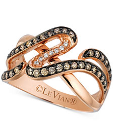 Le Vian Chocolatier® Diamond Abstsract Swirl Ring (1/2 ct. t.w.) in 14k Rose Gold