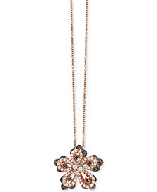 Le Vian Chocolatier® Diamond Flower Pendant Necklace (9/10 ct. t.w.) in 14k Rose Gold