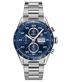Men's Swiss Automatic Chronograph Carrera Steel Bracelet Watch 43mm