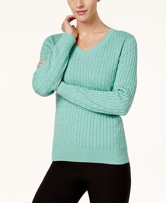 Karen Scott Cotton V Neck Cable Knit Sweater Created For Macys