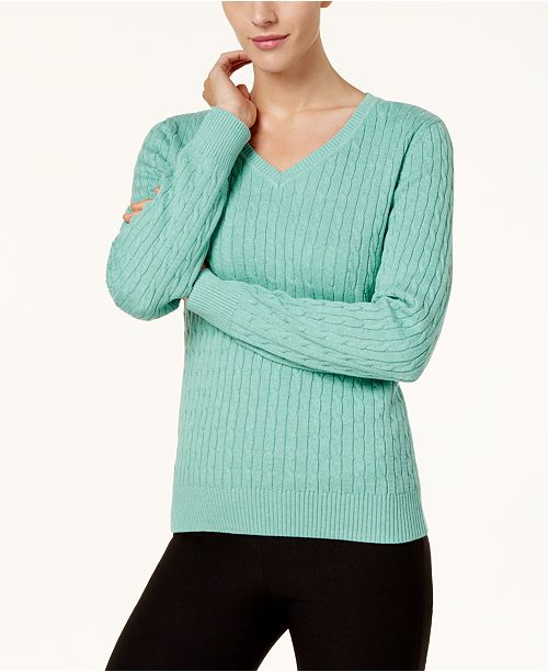 Karen Scott Cotton V Neck Cable Knit Sweater Created For