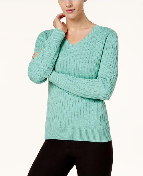 5a24927a683cc ... Karen Scott Cotton V-Neck Cable-Knit Sweater