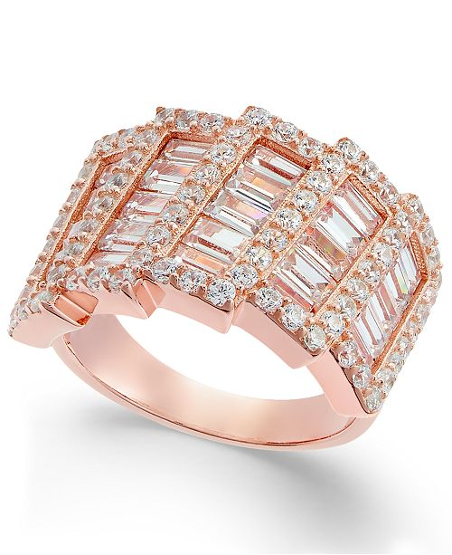 Macy's Cubic Zirconia Horizontal Step Cluster Ring in 14k Rose Gold-Plated Sterling Silver