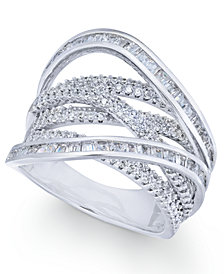 Cubic Zirconia Crisscross Statement Ring in Sterling Silver