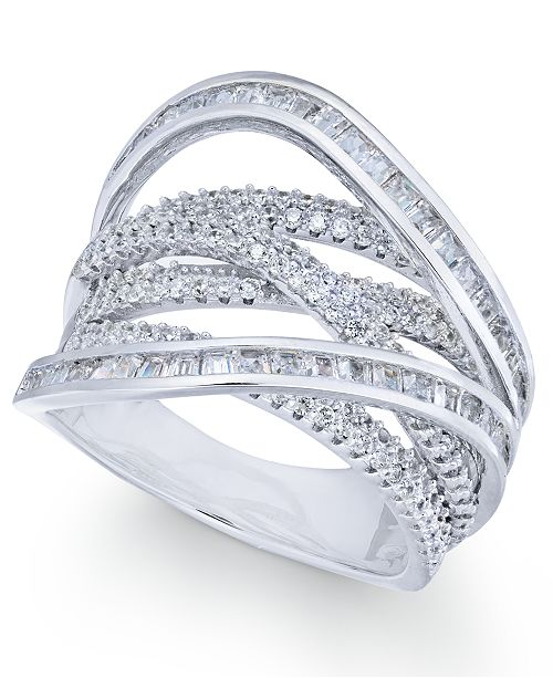 Macy's Cubic Zirconia Crisscross Statement Ring in Sterling Silver