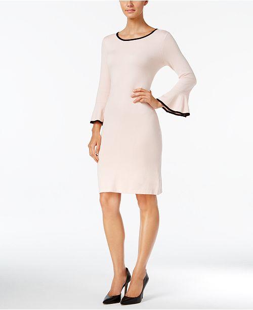 c9dbd43982 Calvin Klein Two-Tone Bell-Sleeve Sweater Dress   Reviews - Dresses ...