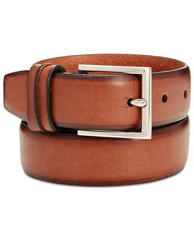 Cole Haan Men's Leather Burnished-Edge Pinch Belt