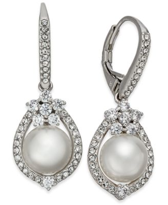 Silver-Tone Imitation Pearl & Pavé Drop Earrings, Created for Macy's