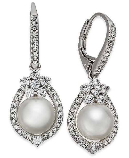 Danori Silver-Tone Imitation Pearl & Pavé Drop Earrings, Created for Macy's