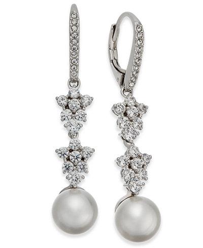 Danori Silver-Tone Imitation Pearl & Crystal Drop Earrings, Created for Macy's