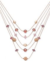 I.N.C. Rose Gold-Tone Bead & Fireball Multi-Layer Necklace, Created for Macy's