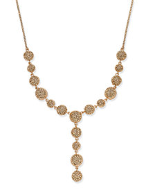 I.N.C. Rose Gold-Tone Crystal Fireball Lariat Necklace, Created for Macy's