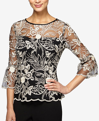 Alex Evenings Embroidered Illusion Top - Tops - Women - Macy's