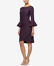 Alex Evenings Bell-Sleeve Draped Compression Sheath Dress