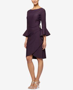 Alex Evenings Bell-Sleeve Draped Compression Sheath Dress 5051157